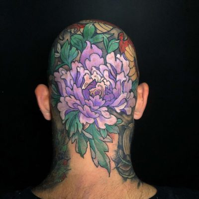 Japanese style head tattoo in colour by Nicky D