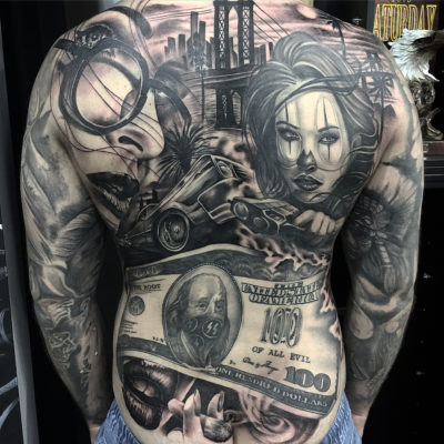 Full back piece black and grey realism by artist ZBanger at Black Market Tattoo studio in the Gold Coast