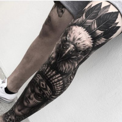 Native american leg sleeve in black and grey realism