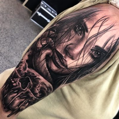 Portrait tattoo with skull in black and grey realism by ZBanger