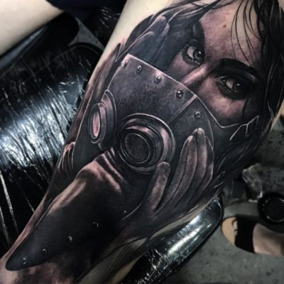 Black and grey realism portrait tattoo by ZBanger