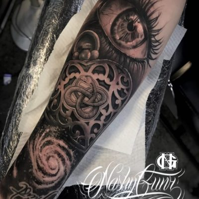 Half sleeve by Nashy with eye and locket by Nashy