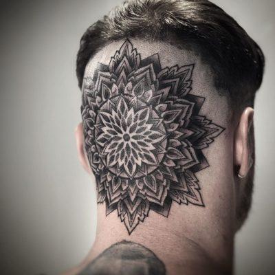 Mandala tattoo on head, by Phoebe May