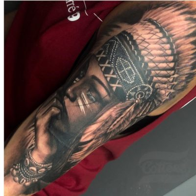 Native American realism half sleeve tattoo by Cotteez