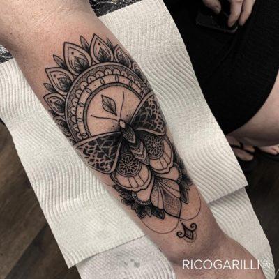 Rico Garilli dotwork tattoo of moth and mandala