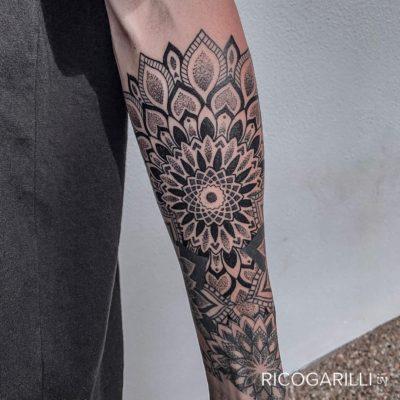 Rico Garilli tattoo of dotwork mandala