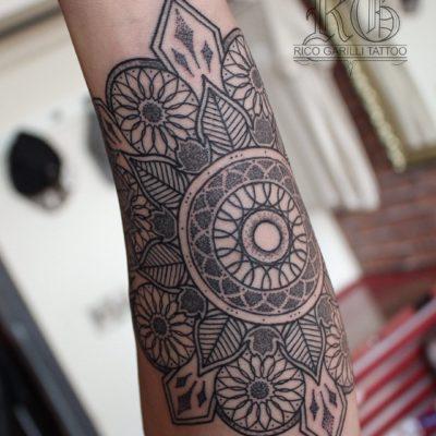 Rico Garilli mandala tattoo on arm