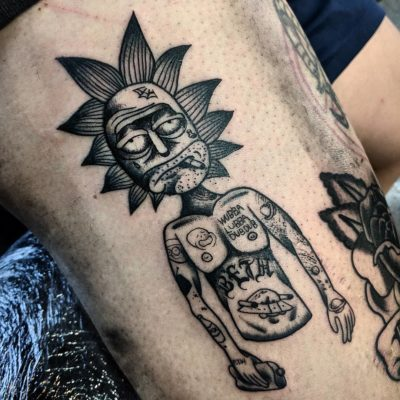 Rick and Morty tattoo by Sam Irvine