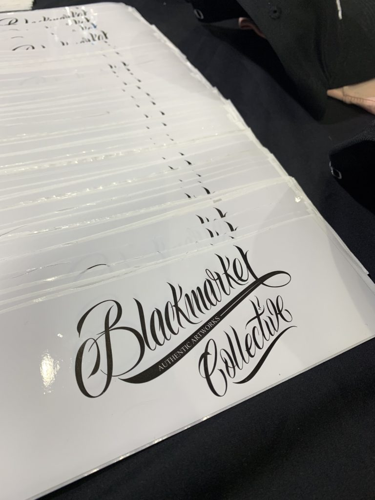 Blackmarket Tattoo studio stickers at Aus Tattoo Expo